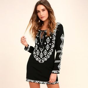 Lulus black and white embroidered dress